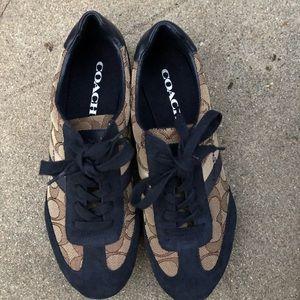 COACH Kelson Women Sneakers Shoes Blue Tan SZ 7.5B